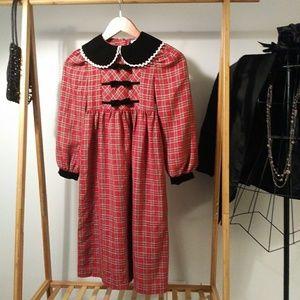 Plaid Prairie Velvet Collar Red Bow Dress S